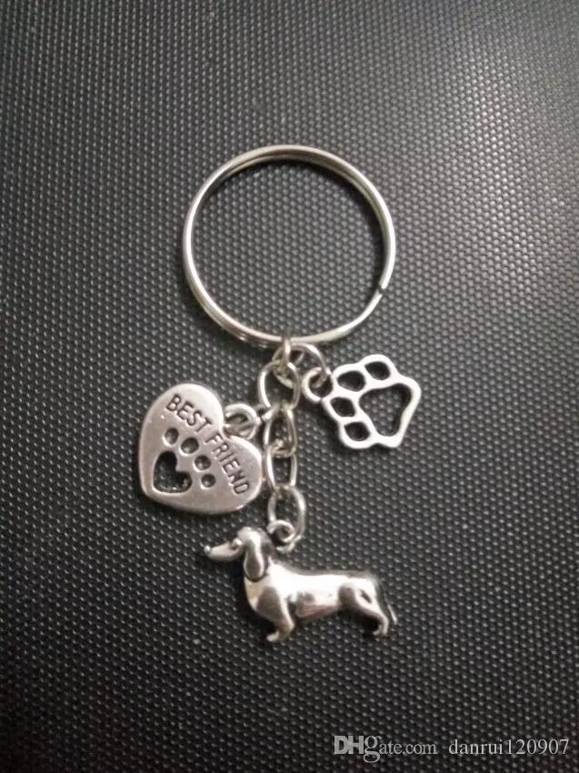 joyería de moda de plata tibetano perro galgo perro salchicha / corazón-Cat / El Llavero de la cadena y anillo colgante del encanto pata de perro bricolaje Ajustar el llavero - 120