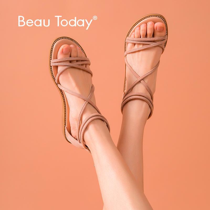BeauToday Kadınlar Plajı Sandalet Çocuk Süet Deri Geri Fermuar Gladyatör Kayısı Bayanlar Yaz Flats El Yapımı 3300863 Çapraz Bağlı