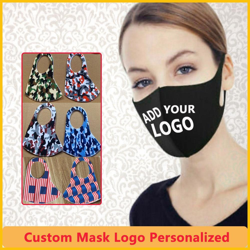 Máscara diseñador de la máscara personalizada logotipo personalizado Boca Cara máscara máscaras Negro de seda del hielo de algodón transpirable a prueba de polvo reutilizables para los hijos adultos