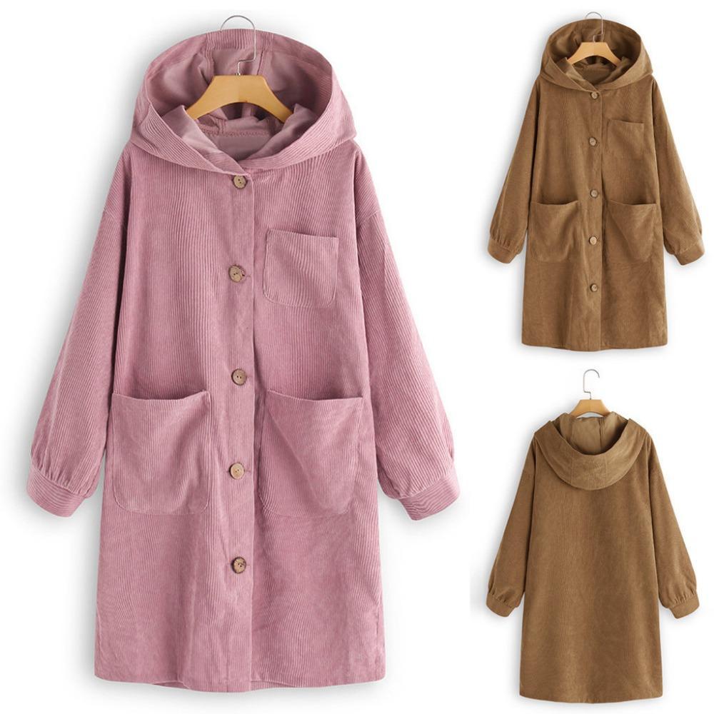 Le signore invernali cappotto lungo moda classica giacca da donna tinta unita casual allentato camicia con cappuccio abbigliamento donna