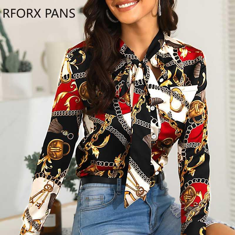 여자는 목 체인 프린트 캐주얼 셔츠 긴 소매 섹시한 블라우스 탑을 묶여