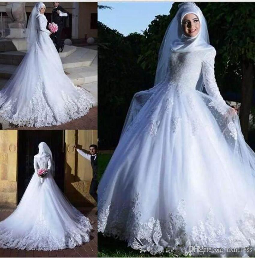 Популярные мусульманские свадебные платья 2020 с длинными рукавами кружева аппликация Sheer тюль A-линии Люкс Свадебные платья Платье De Novia 3798