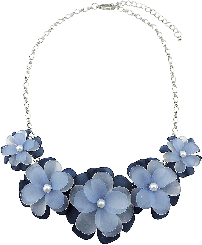 Bocar más nuevo collar colgante de acrílico Declaración Flor Collar Gargantilla para la Mujer
