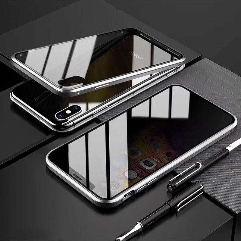 Manyetik temperli cam Gizlilik Metal Telefon Kılıfı Coque Mıknatıs Antispy Koruyucu 360 Kapak Iphone 11pro Max için XR XS MAX X 7/8 Artı