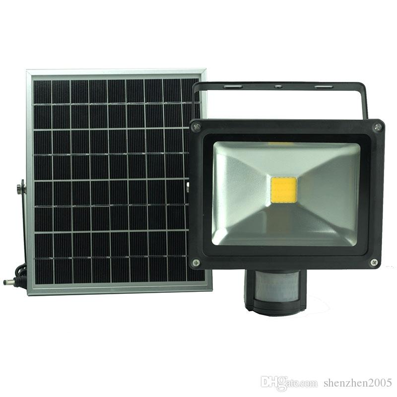 PIR 적외선 LED 홍수 빛 10W 20W 30W 50W 방수 모션 센서 태양 광 투광 조명 정원 마당 게이트 무료 배송