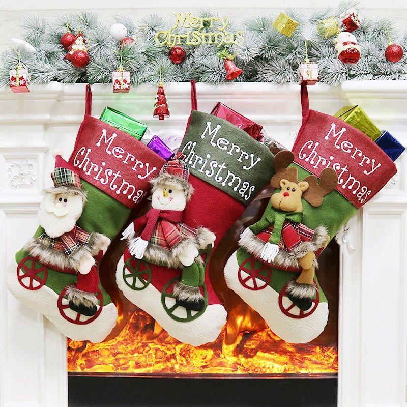 Belle Noël Bas Cadeau Sac Rennes Rennes Père Noël Bonhomme De Neige Chaussettes Natal Arbre De Noël Bonbons Ornement Cadeaux Décorations nouvel an