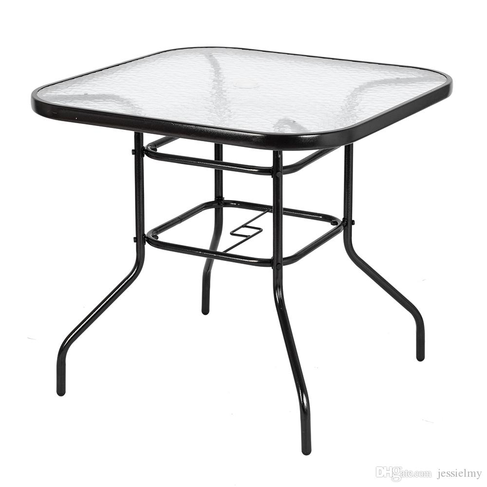 2019 31 5 Patio Table Umbrella Stand Table With Tempered Glass Top