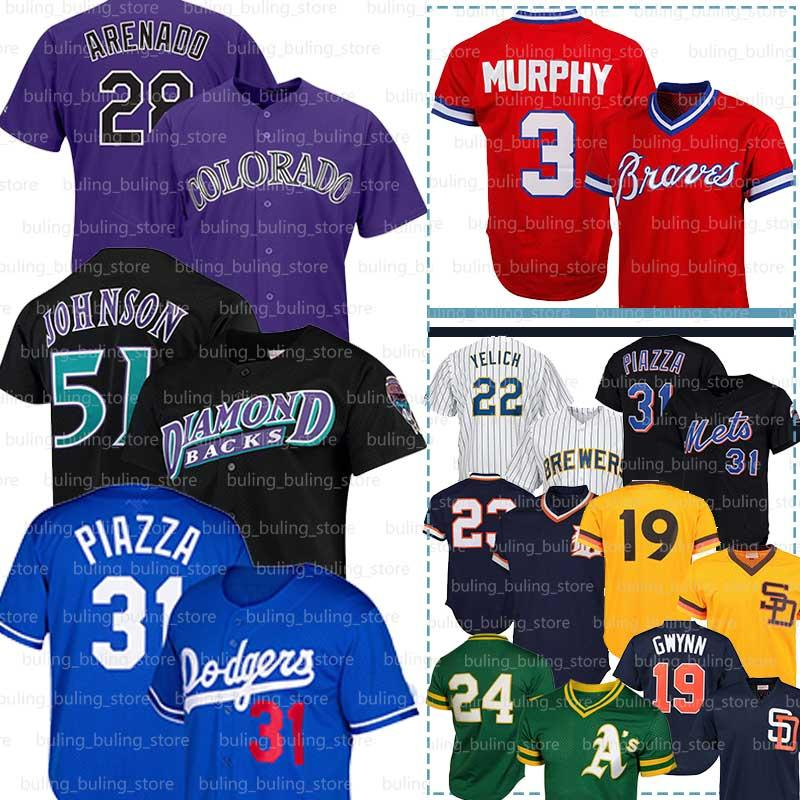 51 Randy Johnson Jersey 28 Nolan Arenado 22 Christian Yelich Bo Jackson 31 Mike Piazza Dale Murphy, Tony Gwynn Willie Stargell Wade Boggs