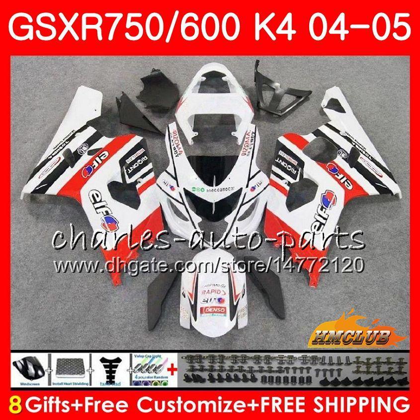 Bodys para a Suzuki GSXR 750 GSX R600 R750 GSXR600 2004 2005 7HC.63 GSXR 600 fábrica branco GSXR750 04 05 GSXR600 K4 GSXR750 04 05 carenagens