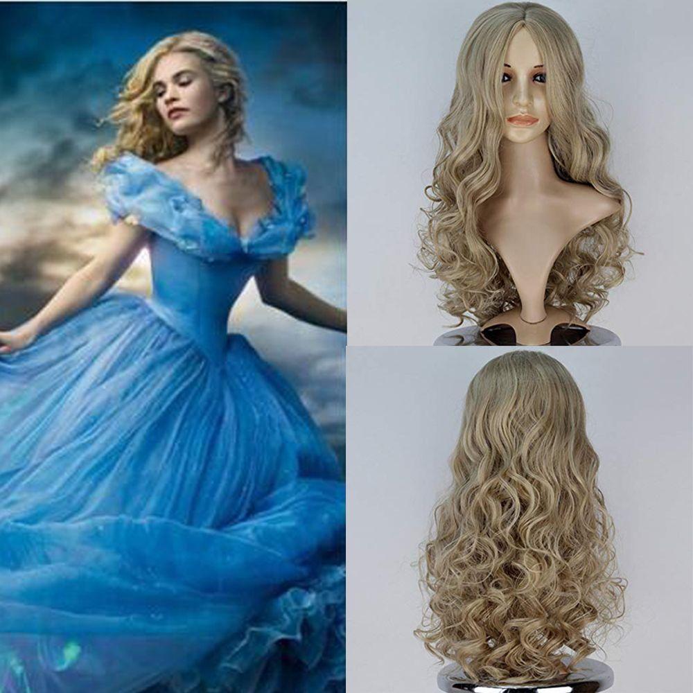 de Cenicienta peluca rubia ondulada de la mujer a largo sintéticas pelucas de chicas Juegos de rol Halloween de princesa de pelo
