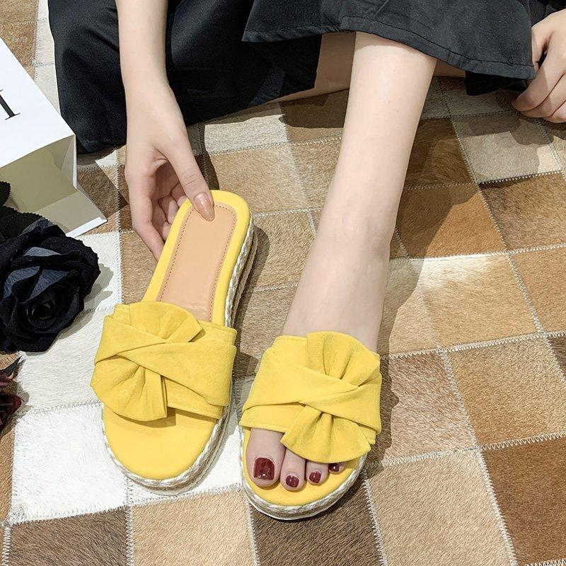 sandals for women Fashion bow-kont slippers Casual platform ladies slippers Flip Flops Open Toe plus size 43