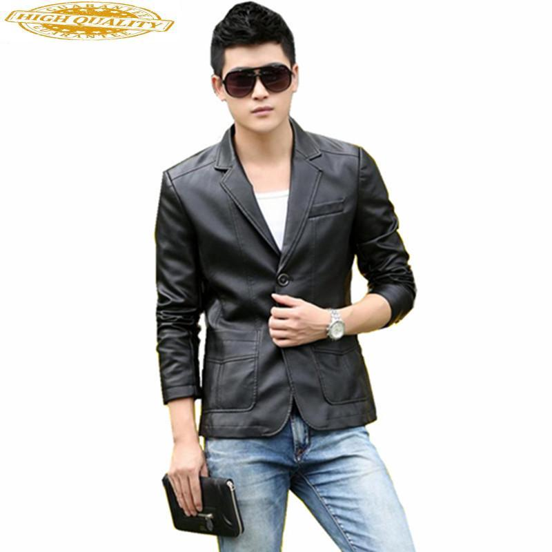 Herren-Jacken 2019 Hohe Imitation Male Lederjacke Mode-Frühlings-Herbst-Klage der Männer Jacken Jaqueta Masculino WXF187