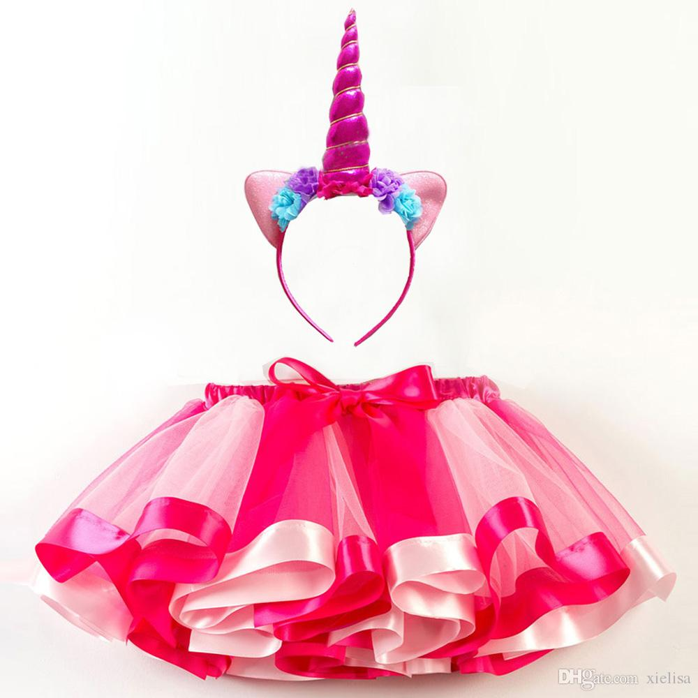 2Pcs Girls Skirts Summer Tutu Skirt Easter Carnival Costume Kids Princess Girls Birthday Party Clothes Children