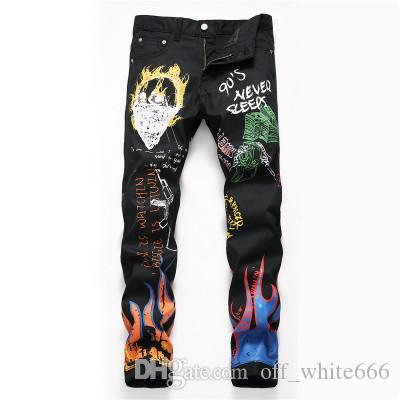 Mens Designer Slim Jeans New black small straight graffiti street high street jeans flame print decoration