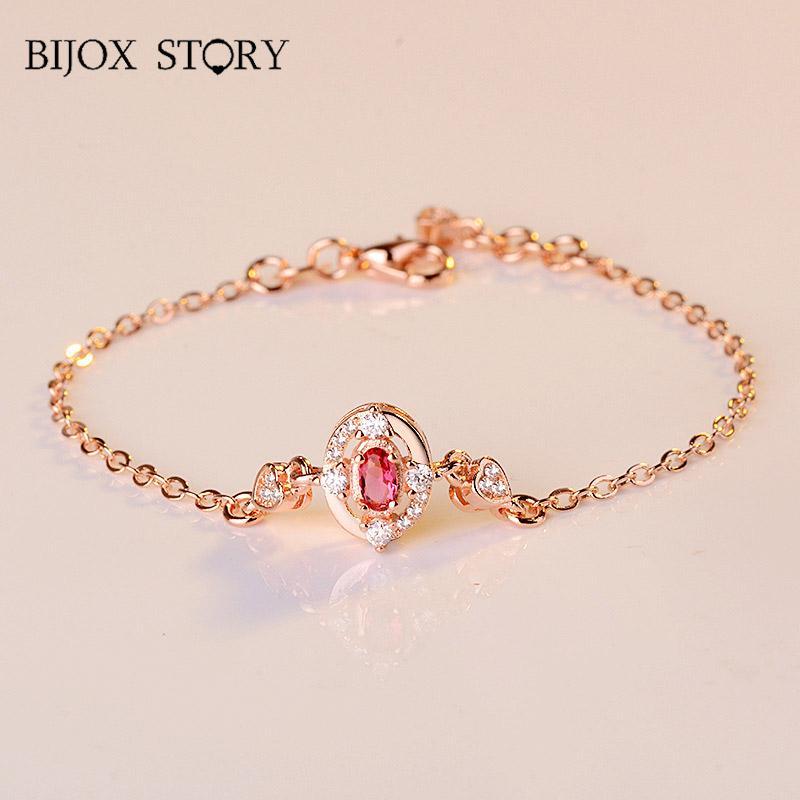 BIJOX STORY Fashion 925 Sterling Silver Bracelet Oval shape Ruby Fine Jewellery for Women Wedding Anniversary Promise Party Gift