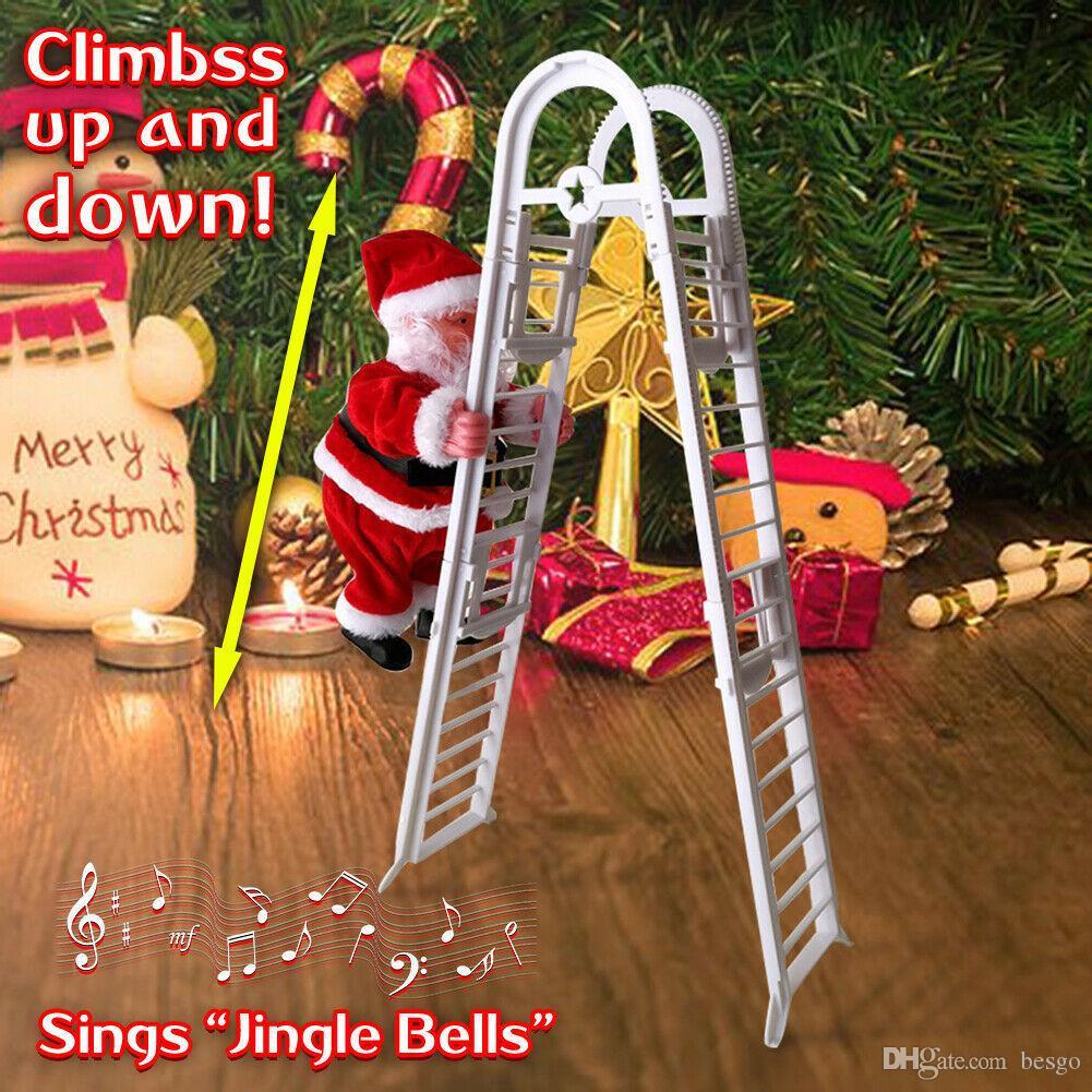 Elektrikli Tırmanma Merdiveni Çocuk DBC VT1146 için Noel Baba Çocuk Oyuncak Noel heykelcik Süsleme Noel Partisi Dekorasyon DIY El Sanatları Festivali Hediye