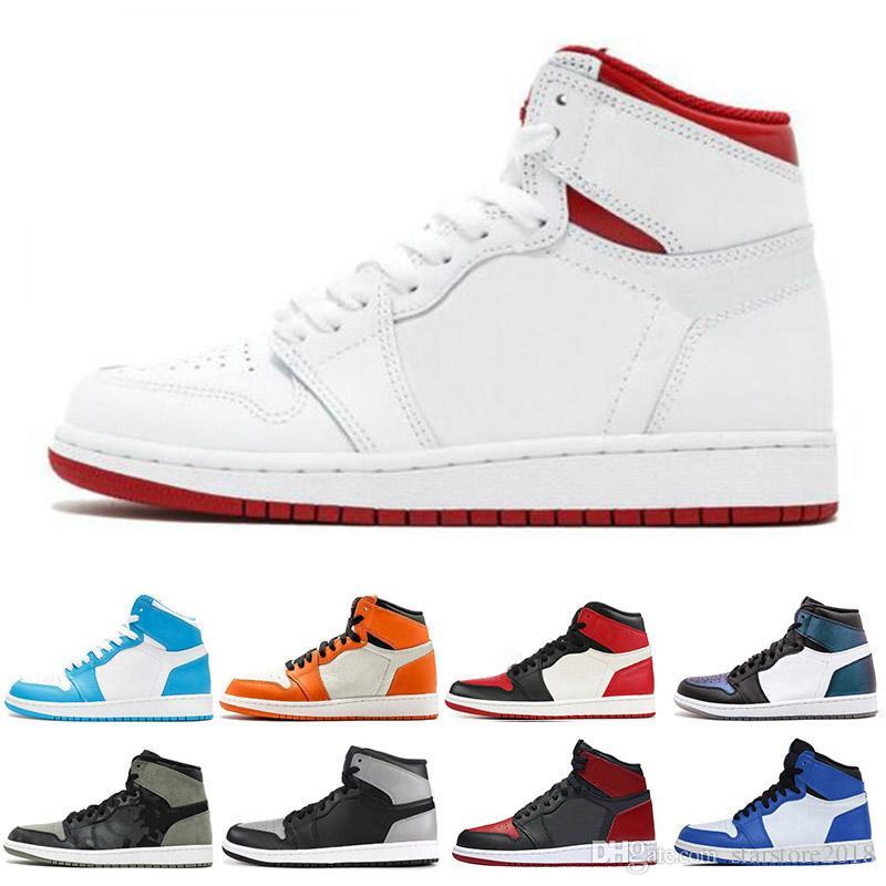 Nike air jordan 1 1s  nova 1 1 s homens tênis de basquete fragmento novo amor preto dedo do pé top top 3 pinho verde sombra camo chicago sports sneakers