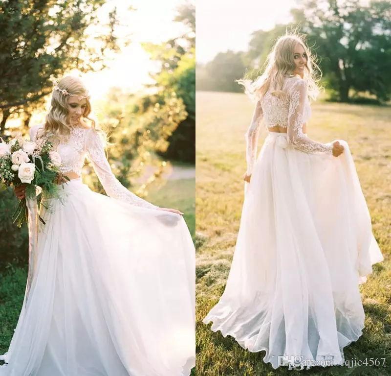 2020 neue Langarm-Böhmen Brautkleider Zwei Stücke Boho Spitze Appliqued Chiffon Brautkleider Country Garden Plus Size Brautkleid