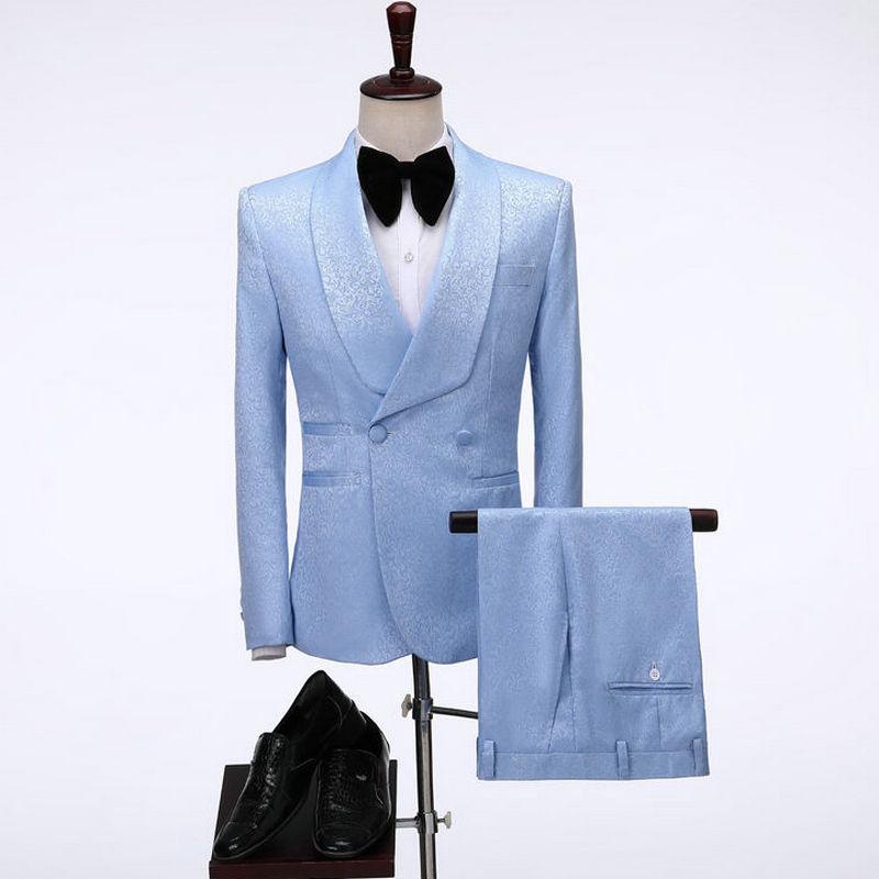 Trajes para hombres Blazers 2021 Hombres a medida Pantalón Casual Double Breasted Slim Fit Suit Light Blue Tuxedo Groom Blazer Boda Terno Masculin