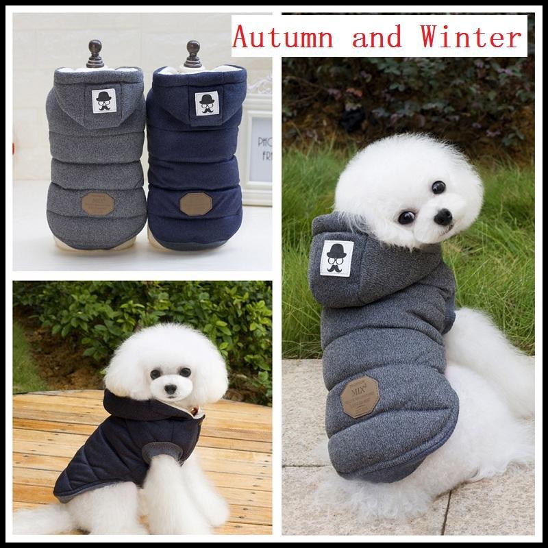 1 قطعة أزياء ذات جودة عالية الخريف والشتاء ملابس الحيوانات الأليفة جرو كلب الحارة اثنين من الساقين القطن معطف سترات شارب مستلزمات الحيوانات الأليفة