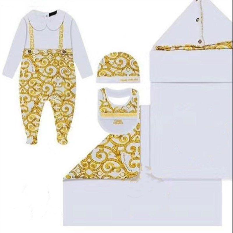 2020 Yeni Bahar Bebek Boygirl Giysileri Set Altın Çiçek Romper Yenidoğan Bebek Tulum + Şapka Için + Bib Üç Adet Bebek Giyim