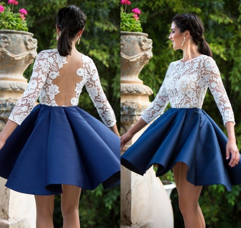 Bianco Top Royal Blue Gonna Abiti da casa Abiti da casa 2020 Sheer Manica lunga Brevi Abiti da ballo Plus Size Cocktail Dress Country Dressmaid Dress