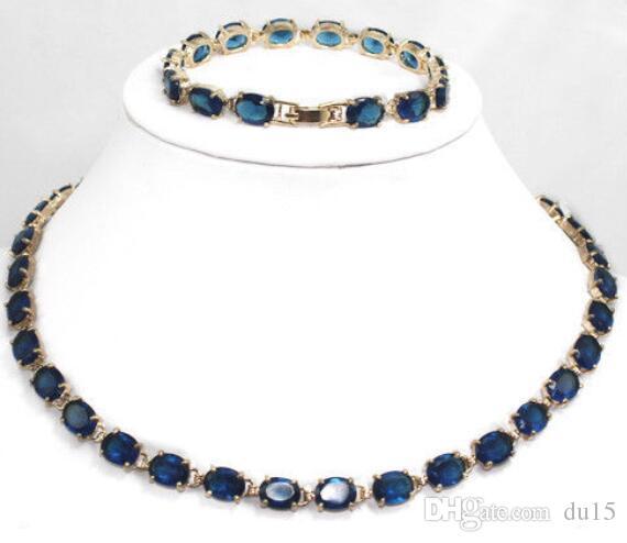 настоящее серебро-ювелирные изделия женская свадебный шарм новый дизайн синий камень драгоценный камень браслет ожерелье комплект ювелирных изделий