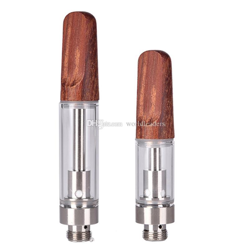 Dabwoods Carts Wood Drip Tip Thick Oil Vape Cartridges Empty Vapes Pens Ceramic Coil E Cigarettes TH205 Vaporizer Atomizers