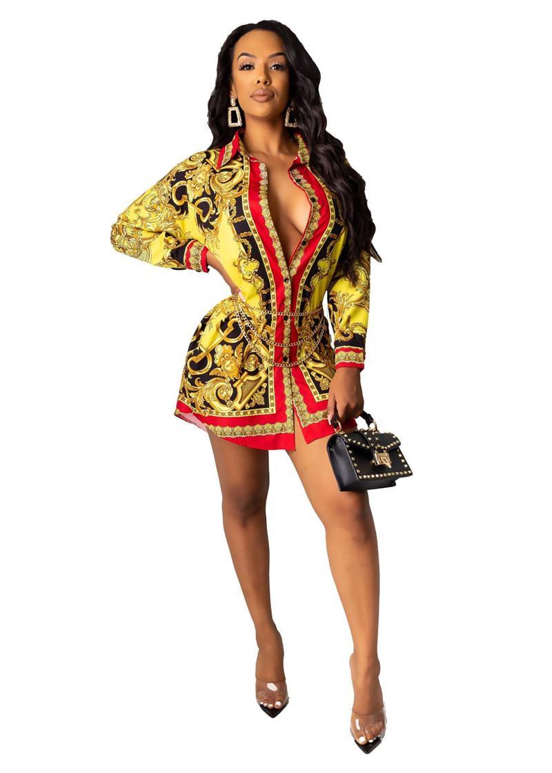 Diseñador de las mujeres de lujo de moda de vestir de manga larga Impreso Digital camisa floja de los vestidos de las mujeres atractivas Ropa de diseño