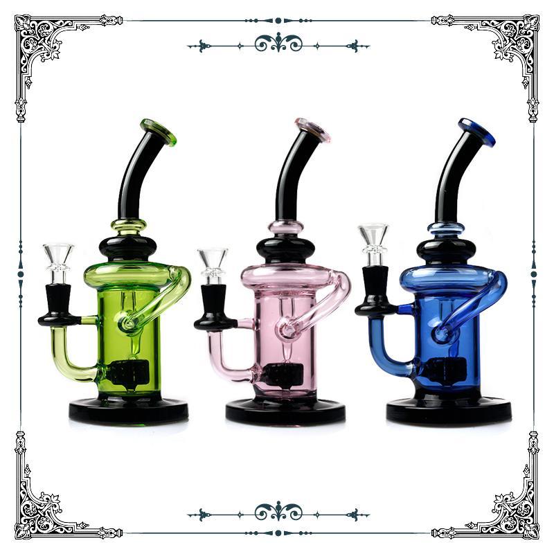 Tubulações de água de fumo de vidro colorido do reciclador com polegadas de vidro do vaquetha