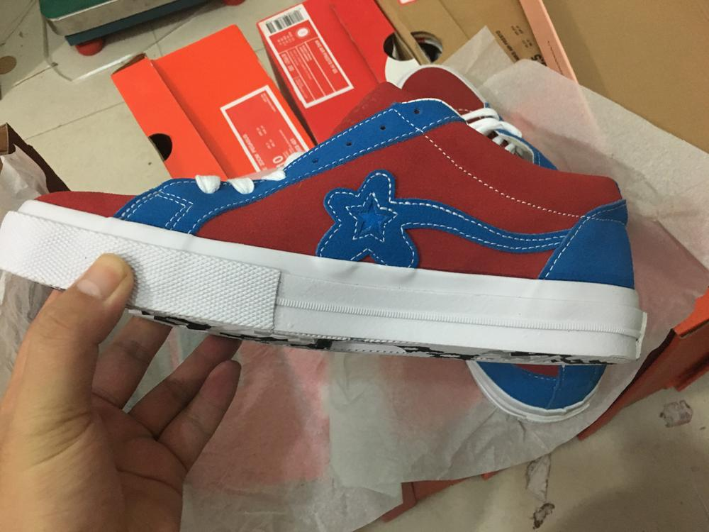 2020 Real Pic For Ttc Golf Le Fleur Tyler The Creator One Stars Ox Red Blue Suede Fashion Casual Skate Shoes Pink Green Blue Sneakers With Box From Believeonetime 55 99 Dhgate Com