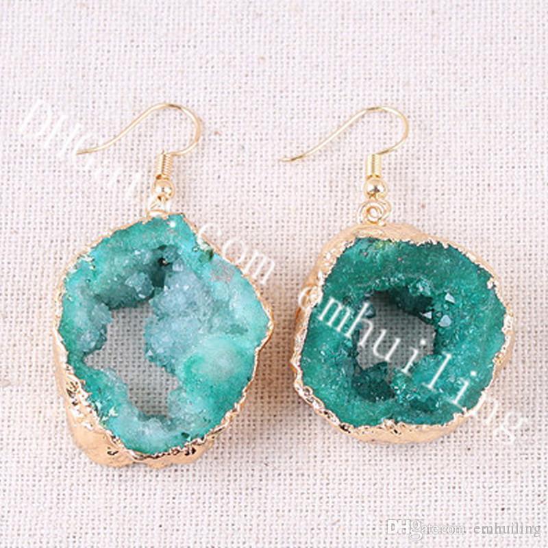 10Pairs 25-40mm Random Size Freeform Green Druzy Agate Earrings Gold Plated Edge Rough Gem Geode Dangle Earrings Handmade Jewelry for Women
