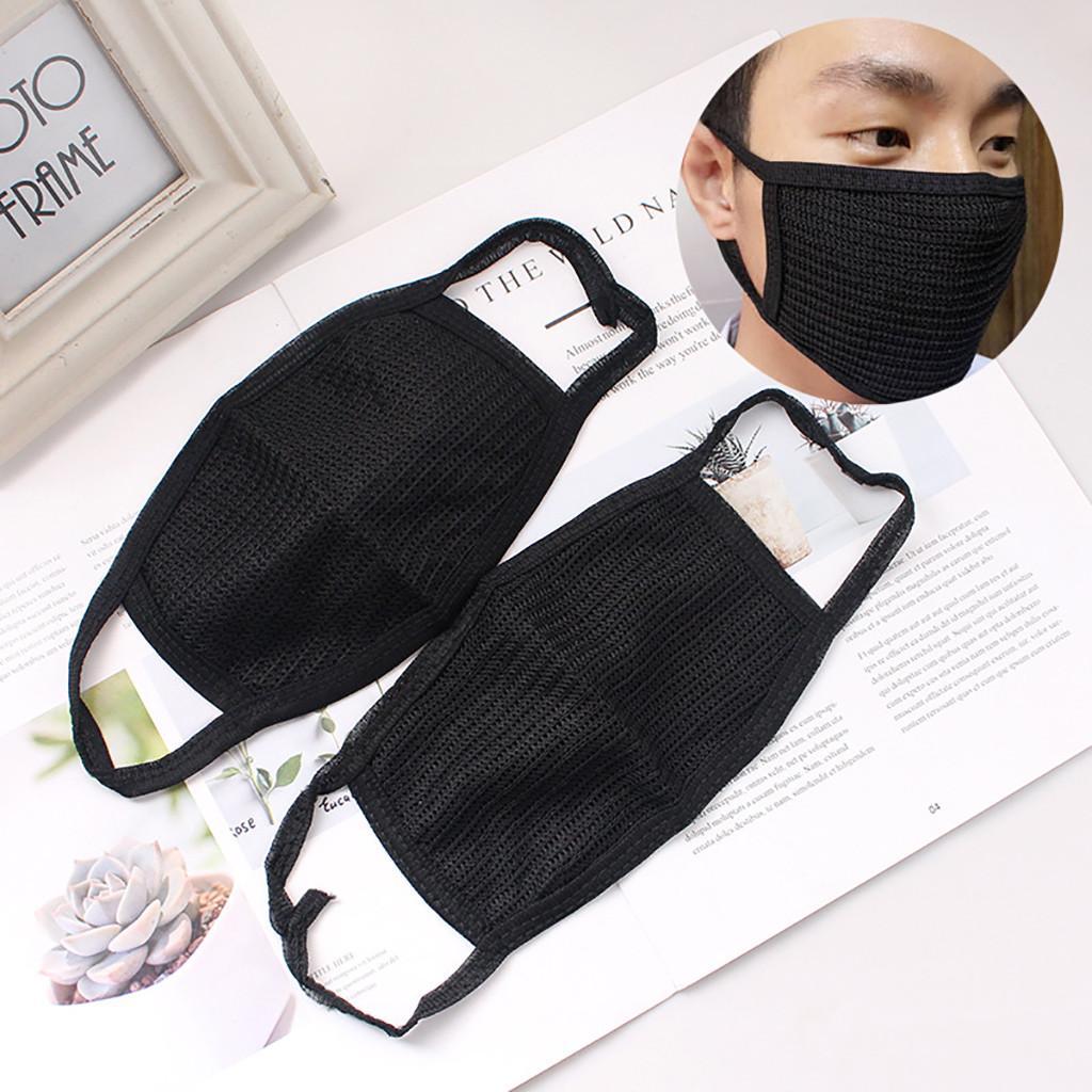Masque anti-poussière Masque bouche noire unisexe Coton visage Anime Masque pour le cyclisme Camp antipoussière Earloop Masques non tissé bouche