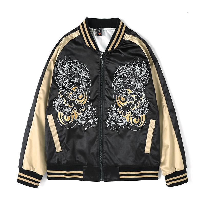 남성용 자켓 재킷 패턴 수 놓은 스탠드 칼라 조수 긴 소매 느슨한 캐주얼 패션 M-4XL