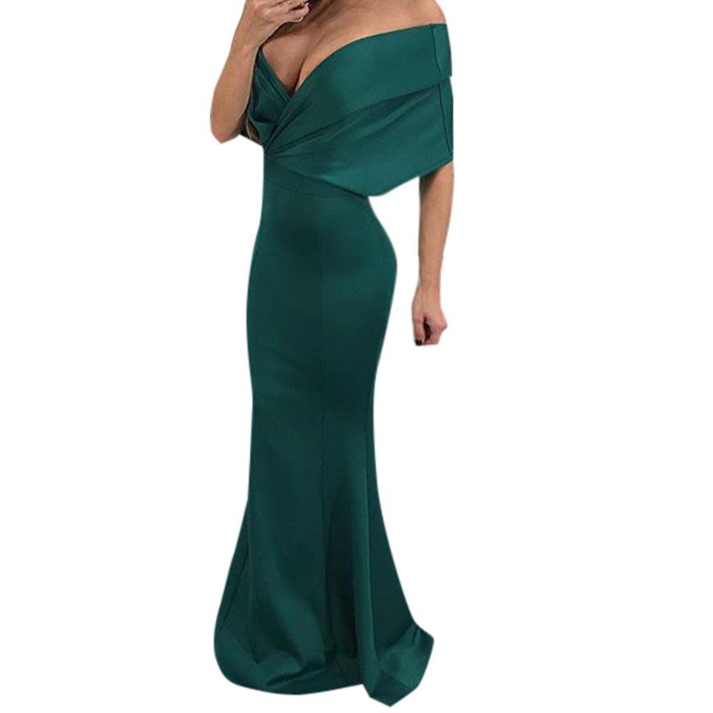 Ladies sexy word shoulder depth V solid color fishtail dress floor length sheath speaker mermaid dress