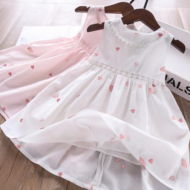 Filles col en dentelle aux fraises Gilet Robes d'été 2020 Vêtements enfants Boutique 2-7T enfants manches coton princesse robes de haute qualité