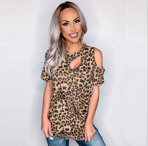 Ropa femenina suelta Mujeres Diseñador Top Manga corta Casual Tshirts Crew Cuello Cuello Moda Leopardo Impresión Tees