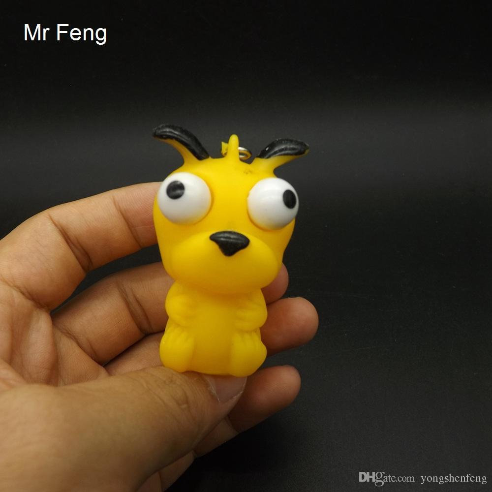 Fun Dog Animal Vent Vinilo Juguete Extrusión Levantó los ojos Llavero Descompresión Juguete Niño Regalo (Número de modelo I439)