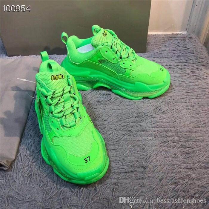 Design Automne Vert Triple S Baskets Vieux Papa Chaussures Bas Haut Triple-S En Cuir Poli et Baskets En Maille pour Femmes Hommes Chaussures de sport Causal