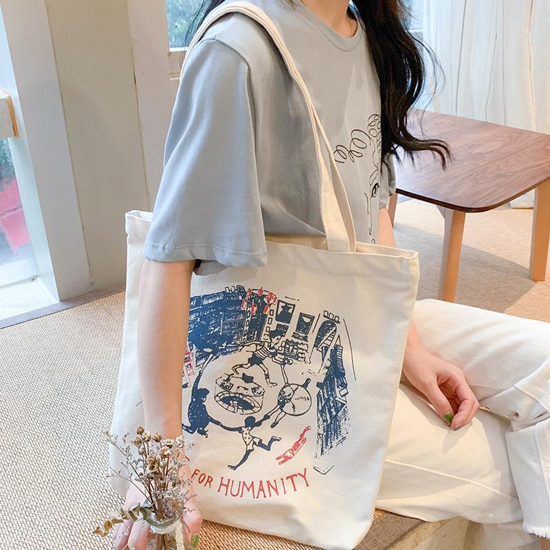 Le donne di tela signore borsa a tracolla di puro cotone panno borsa di acquisto pieghevole Tote studenti Semplice Eco Ambientale Borsa shopper