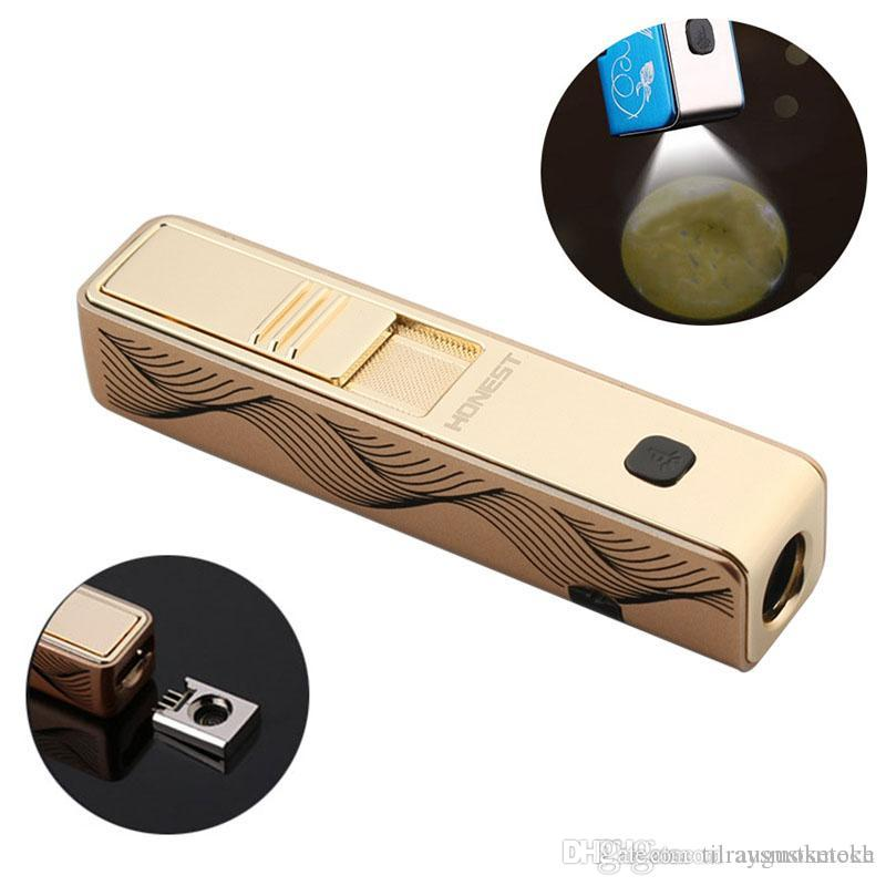 USB Charging Cigarette Lighter Windproof Lighter With Projection Lamp Rechargeable Electric Wire Electronic Lighters Smoking Accessories