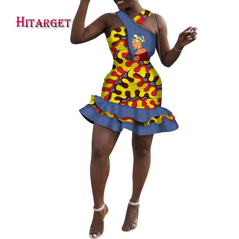 2020 New Summer African Dashiki For Women Ankara Lady Sexy Silm Dress African Fashion Clothing Cotton Dresses Plus Size WY6473