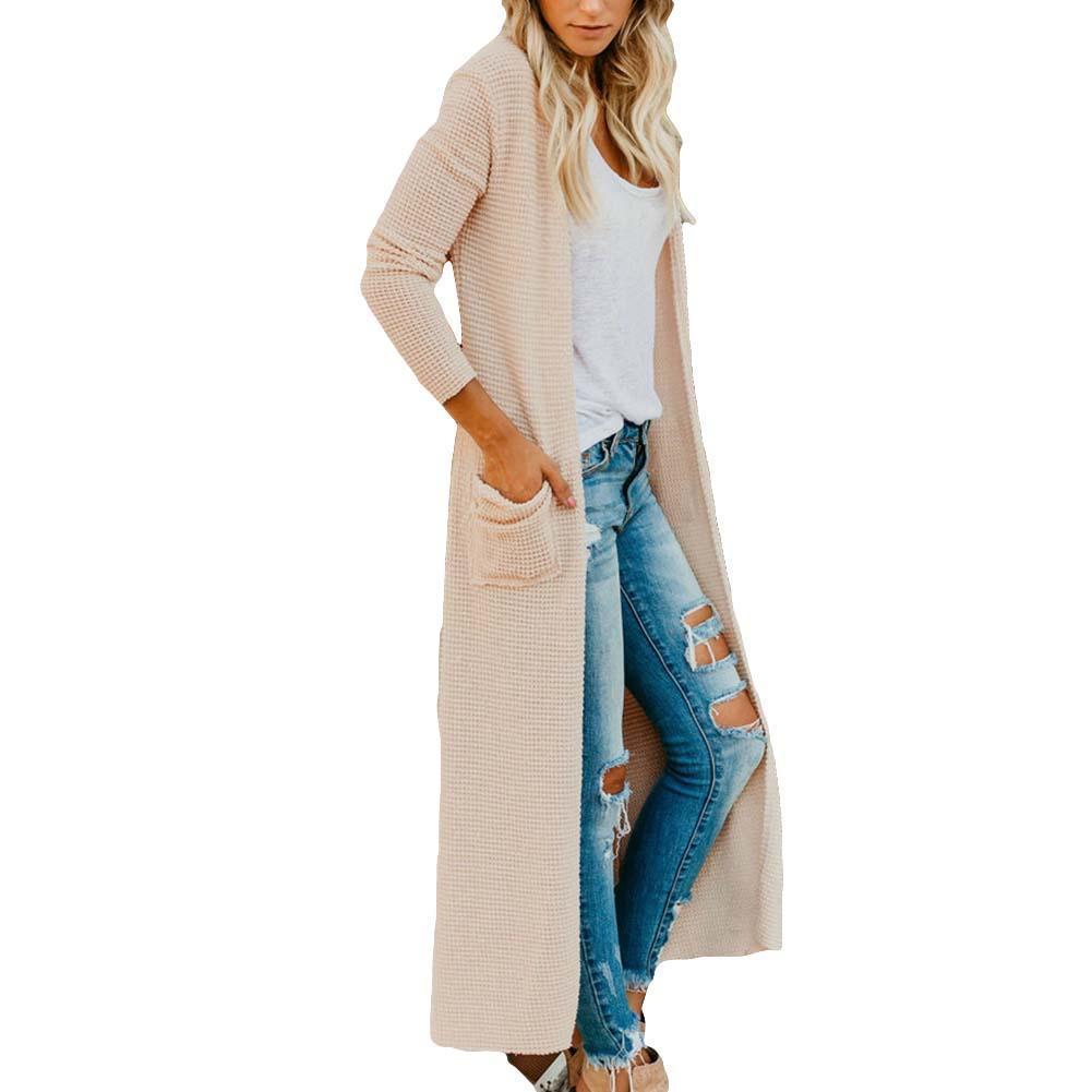 المرأة جيوبهم كم طويل بلون تريكو منفضة كارديجان معطف