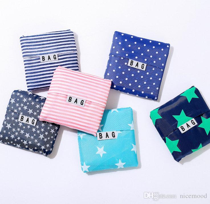 Commercio all'ingrosso stile femminile che piega le borse della spesa riutilizzabili stampato Designer del sacchetto di drogheria della signora Eco Friendly Borse da DHL SH003