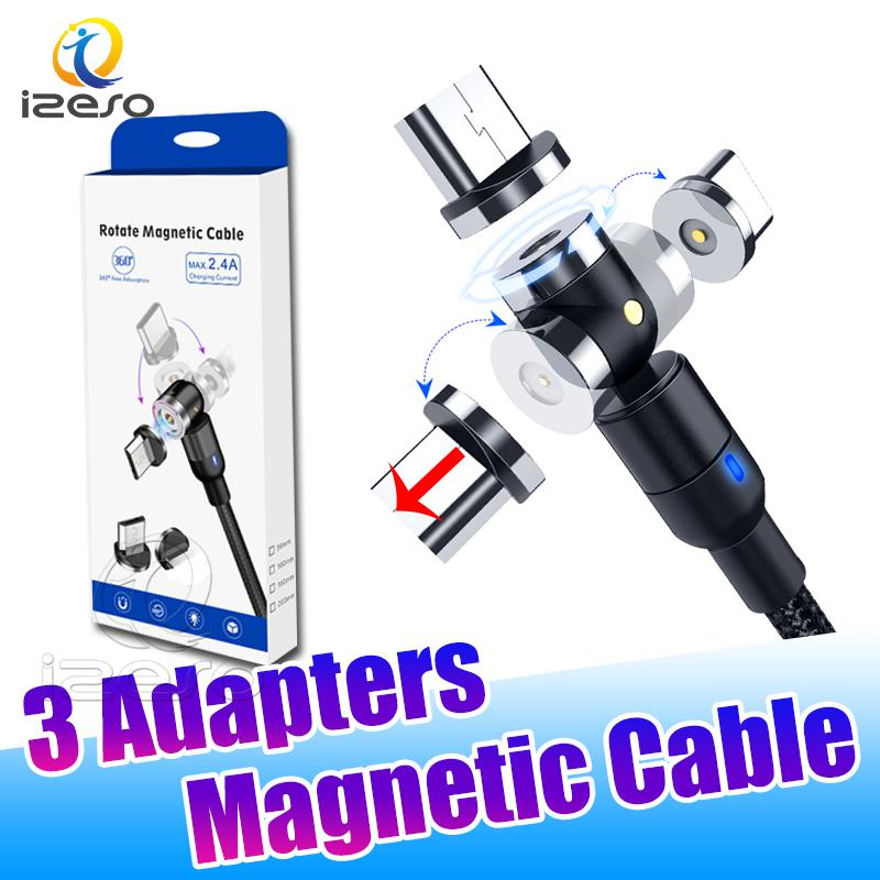 Magnetic USB Type C Cable 3ft 6ft Upgraded Magnetic Wire Cord 540° Rotation Charging Line for Samsung Note20 A21S with Retail Package izeso