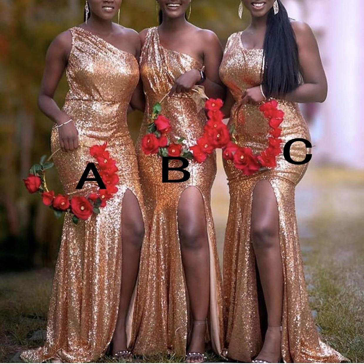 Rose Gold Sequins Vestidos dama Mixed festa de casamento Custom Made Order Visitante vestido diferente decote Júnior dama de honra Vestido barato