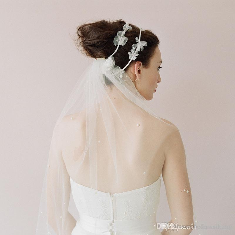 Twigs High Quality Bridal Veils With Cut Edge Elbow Length One Layer With Pearls Headbands Tulle White Elegant Wedding Bridal Veils #V018