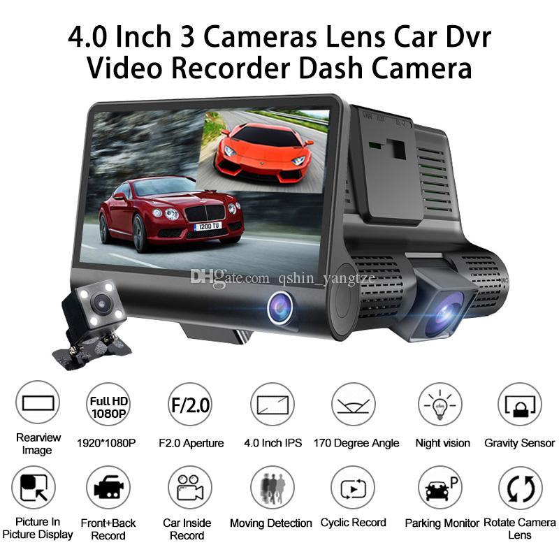 "3CH سيارة DVR القيادة مسجل فيديو السيارات اندفاعة كاميرا 4 ""شاشة FHD 1080P أمام 170 درجة 140 درجة العمق الداخلي مراقبة وقوف السيارات 120 درجة G- الاستشعار"