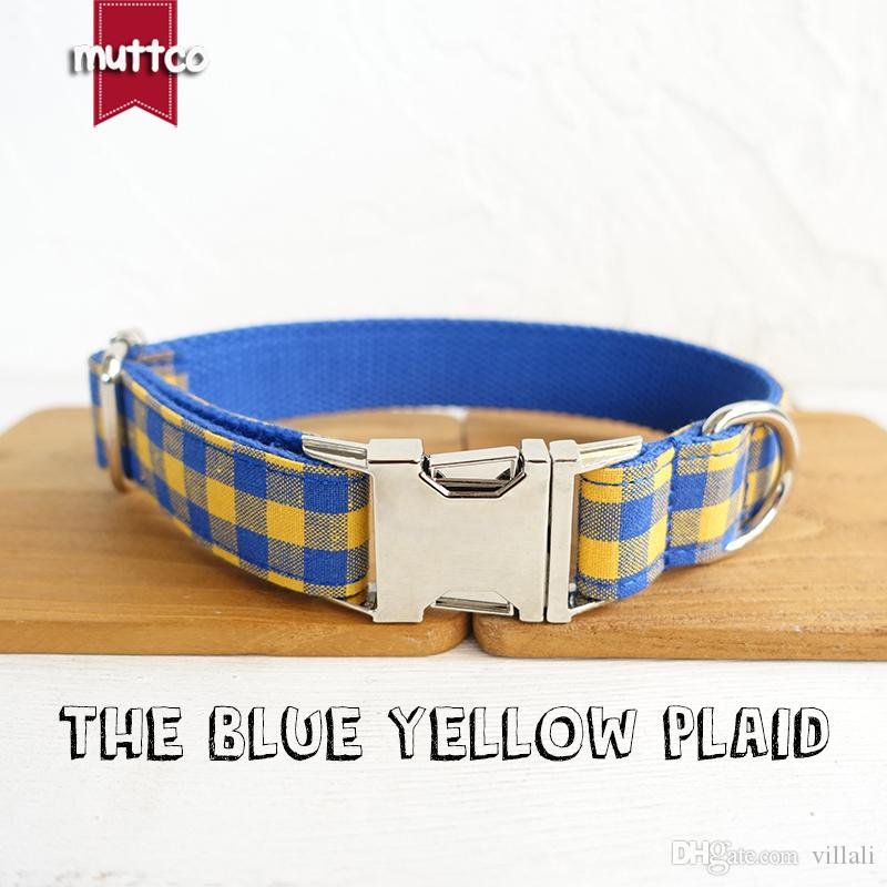 MUTTCO retailing self-design adjustable dog collar small medium large dog THE BLUE YELLOW PLAID handmade colorful pet collar leash UDC068