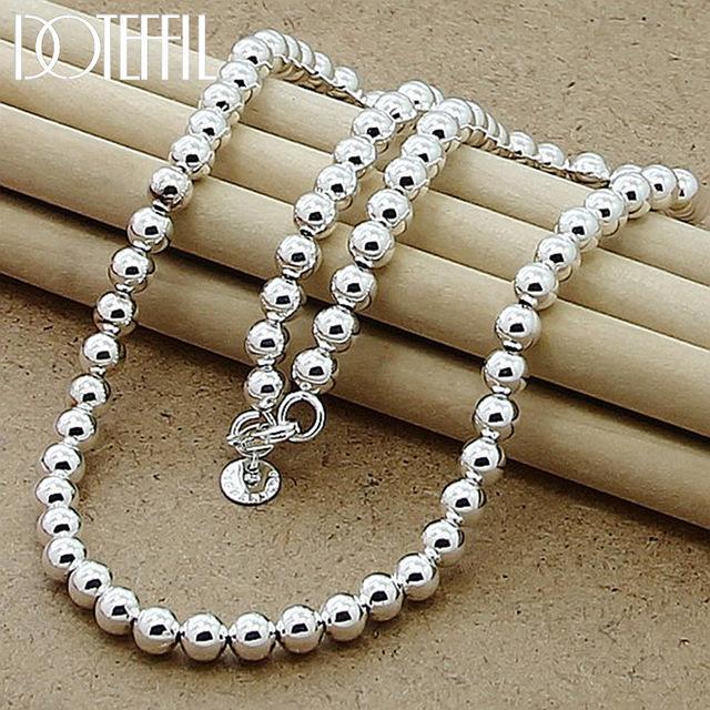 ewelry Aksesuarları DOTEFFIL 925 Gümüş Boncuk top Zincir kolye İçin Kadınlar Moda Düğün Nişan Takı Ücretsiz S Smooth 6mm ...